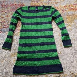 GAP Green and Navy Blue Striped Sweater Dress